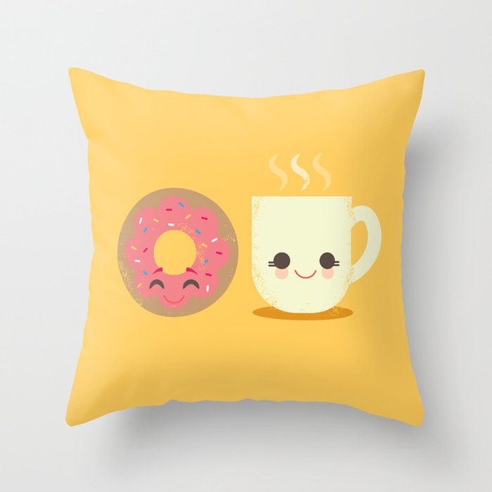 Coffee and Donut Buds Throw Pillow