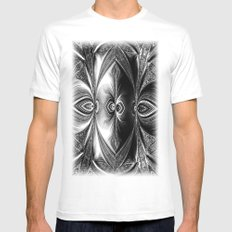 Abstract.White+Black Peacock. MEDIUM Mens Fitted Tee White