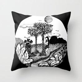 The Garden - Black Throw Pillow
