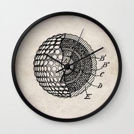 Golf Ball Patent - Golfer Art - Antique Wall Clock