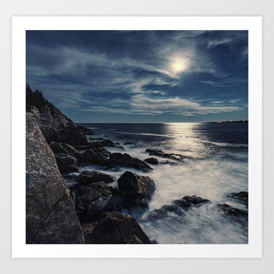 Moonlit Coast Art Print