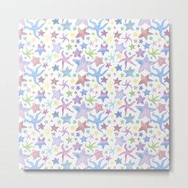 Watercolor Starfish Pattern - Pastel Metal Print