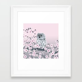 Cute Owl and Cherry Blossoms Pink Gray Framed Art Print