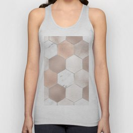 Rose pearl and marble hexagons Unisex Tank Top