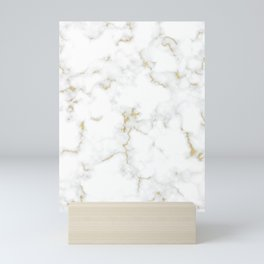 Fine Gold Marble Natural Stone Gold Metallic Veining White Quartz Mini Art Print