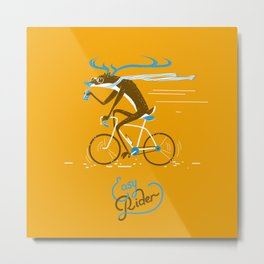 Easy Rider // (cycling hipster deer) Metal Print
