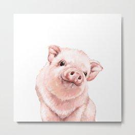 Pink Baby Pig Metal Print