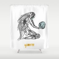 future Shower Curtains featuring Future by iglootree