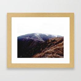foggy australian mountains Framed Art Print