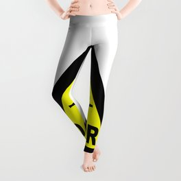 Triangle Barbed Wire Warning Sign Leggings