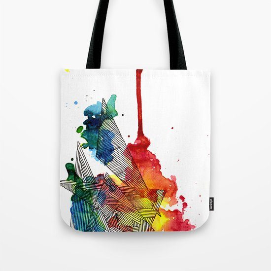 Watercolor and Fine Liner Triangles Tote Bag