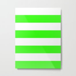 Wide Horizontal Stripes - White and Neon Green Metal Print