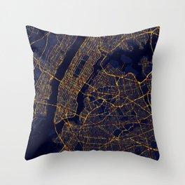 New York City At Night Throw Pillow
