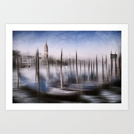 Digital-Art VENICE Grand Canal and St Mark's Campanile Art Print