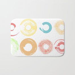 Donut shapes pastel brushes Bath Mat
