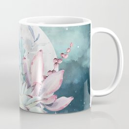 Beautiful Succulents Full Moon Teal Pink Coffee Mug