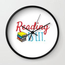 Reading Gift Reading Is Lit ELA Literacy Teacher Student Books Wall Clock