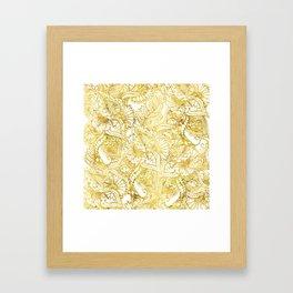 Elegant chic gold foil hand drawn floral pattern Framed Art Print