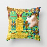 nouveau Throw Pillows featuring Nouveau Girl by Steve W Schwartz Art