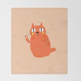 Hello Cat Throw Blanket