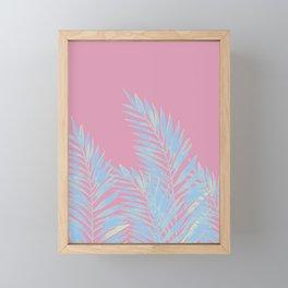 Palm Leaves Blue And Pink Framed Mini Art Print