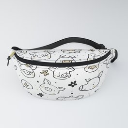 Cute little hand drawn pigs with hats and ballons Fanny Pack