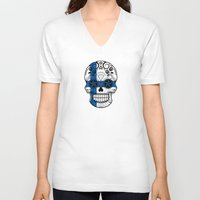 finland V-neck T-shirts featuring Sugar Skull with Roses and Flag of Finland by Jeff Bartels