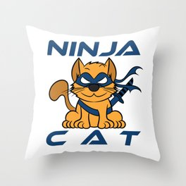 """Ninja Cat Warrior"" ninja-inspired tee made for cat and ninja lovers like you! Throw Pillow"