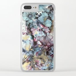 Teal & Gold Abstract Clear iPhone Case