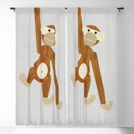 Wood monkey - posters, art prints, prints, gift, illustration, animals, children, nursery, family, f Blackout Curtain
