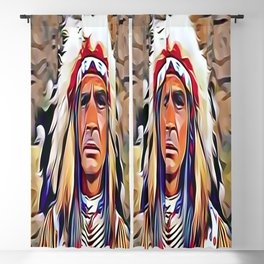 Native American Indian Chief with War Bonnet Blackout Curtain