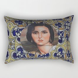 Spain 46 - Woman in Madrid with mosaic on the wall Rectangular Pillow