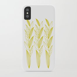 Growing Leaves: Golden Yellow – White background iPhone Case