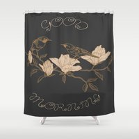 good morning Shower Curtains featuring Good Morning by Texnotropio
