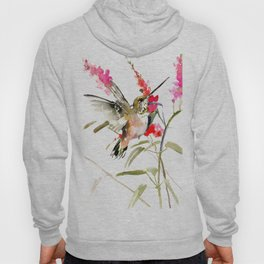 Hummingbird and Pink Flowers, sage green, olive green pink Hoody