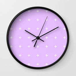 PLUS ((white on lilac)) Wall Clock