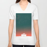 silhouette V-neck T-shirts featuring Quiet Night - starry sky by Picomodi