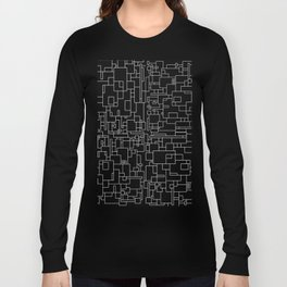 Circuitry - Abstract, geometric, black and white Long Sleeve T-shirt