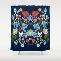 welcome Shower Curtains featuring Welcome by Misha Blaise Design