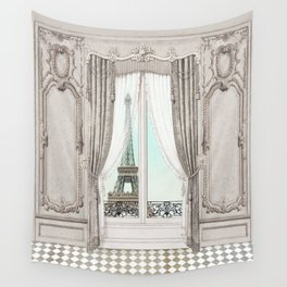 Eiffel Tower room with a view Wall Tapestry