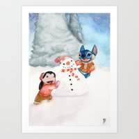 lilo and stitch Art Prints featuring Lilo and Stitch by Walko