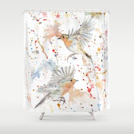 """Watercolor Painting of Picture """"Robins"""" Shower Curtain"""