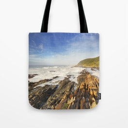 Rocky coastline in Garden Route National Park, South Africa Tote Bag