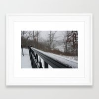rileigh smirl Framed Art Prints featuring Snowy Rail by Rileigh Smirl
