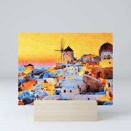 Sunset at MyKonos Mini Art Print