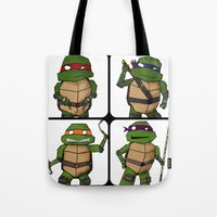 ninja turtle Tote Bags featuring Teenage Mutant Ninja Turtle by Robbleeart