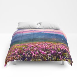 Blooming mountains Comforters