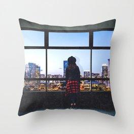 Austin Texas Skyline and Woman Throw Pillow