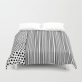Black and White Dots and Stripes Duvet Cover