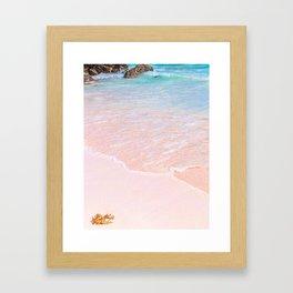 Pink sand beach Framed Art Print